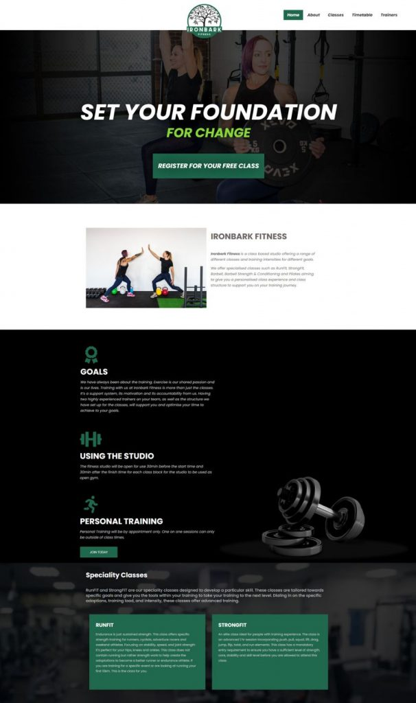 ironbark fitness section of homepage